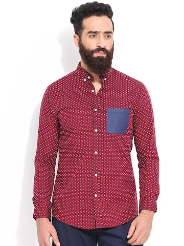 Buy mr button men maroon polka dot print slim fit casual for Slim fit polka dot shirt