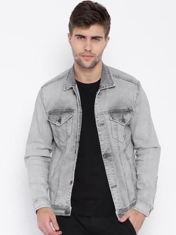 Buy Bandit Grey Washed Denim Jacket - Jackets for Men | Myntra