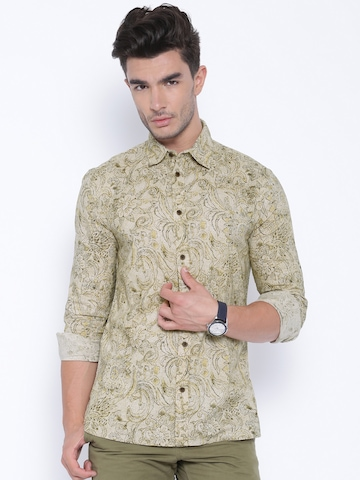 buy jack jones beige printed casual shirt shirts for. Black Bedroom Furniture Sets. Home Design Ideas