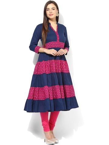 Buy Aks Navy Amp Pink Printed Anarkali Kurta Kurtas For