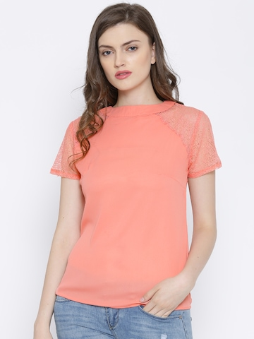 Buy Madame Peach Coloured Sheer Top With Lace Sleeves