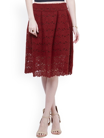 Maroon A Line Skirt