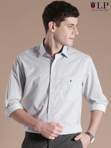 buy louis philippe sport white printed casual shirt