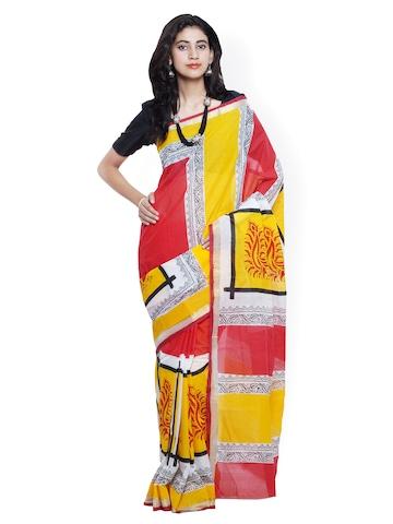Buy Varkala Silk Sarees Yellow Banarasi Cotton & Silk Traditional ...