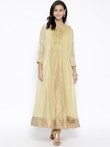 Buy jashn beige chanderi cotton floor length embroidered for Floor length kurti