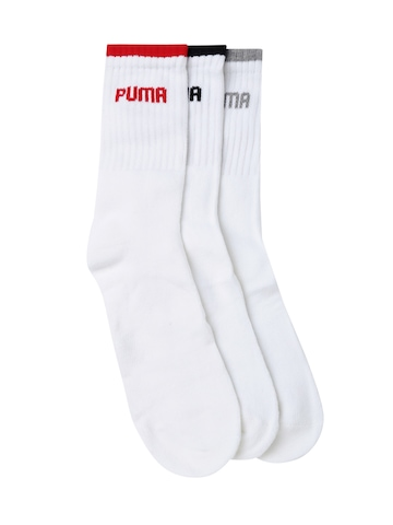 PUMA Men Set of 3 White Above Ankle-Length Socks