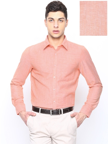 Buy London Bridge Men Peach Coloured Striped Slim Fit Formal Shirt ...