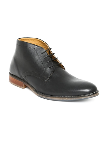Red Tape Men Black Leather Formal Shoes at myntra