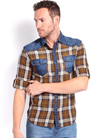 Locomotive Men Brown Checked Slim Fit Casual Shirt