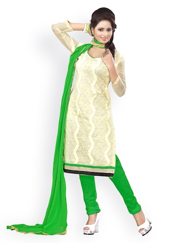 Florence Off-white & Green Chanderi Unstitched Dress Material at myntra