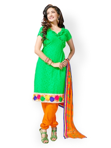 Florence Green & Orange Chiffon Unstitched Dress Material at myntra