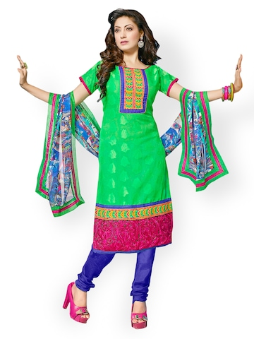 Florence Green & Blue Chiffon Unstitched Dress Material at myntra
