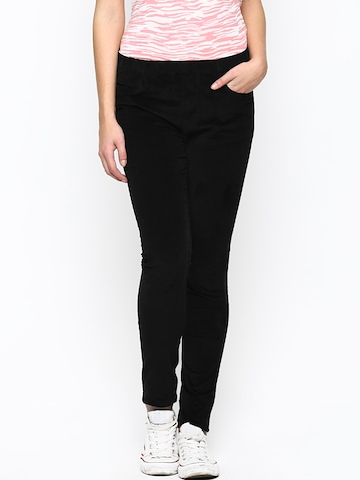 Xpose Women Black Relaxed Fit Corduroy Jeggings at myntra