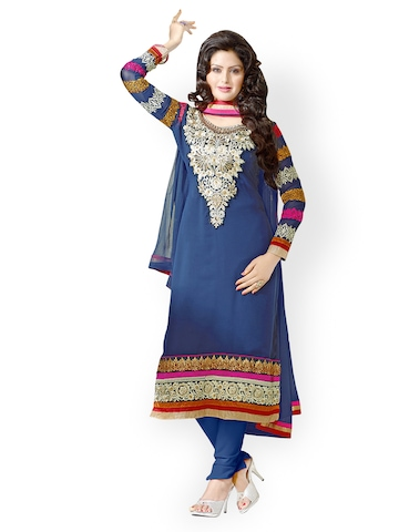 Florence Blue Chiffon Unstitched Dress Material at myntra