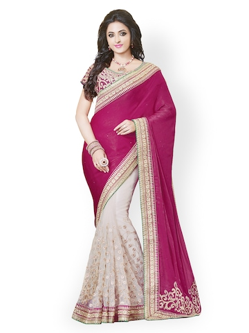 Kashish Lifestyle White & Purple Embroidered Georgette Partywear Saree available at Myntra for Rs.17857