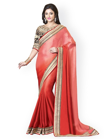 Kashish Lifestyle Red Embroidered Georgette Partywear Saree available at Myntra for Rs.17216