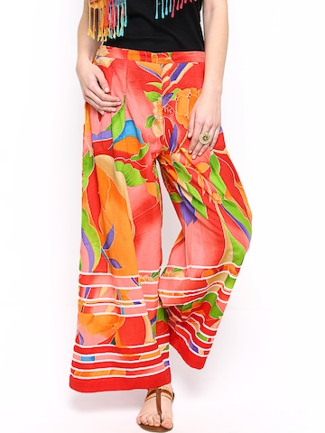 Rain & Rainbow Women Multicoloured Printed Palazzo Trousers at myntra