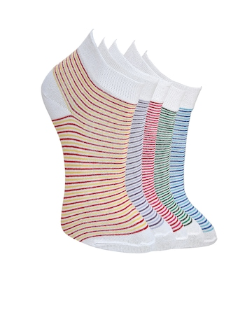 MARC Women Pack of 5 Striped Socks at myntra
