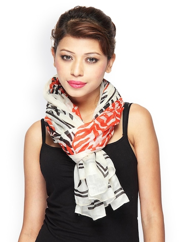 Citypret Women Off-White Printed Scarf at myntra