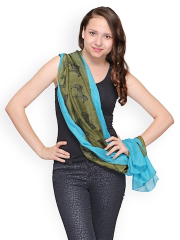 Citypret Women Green & Blue Printed Scarf at myntra