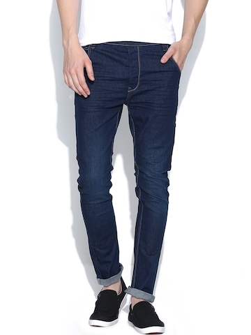 United Colors of Benetton Men Navy Carrot Fit Jeans available at