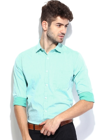 Buy Independence Men Mint Green Slim Fit Smart Casual Shirt ...
