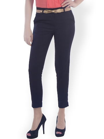 Fast n Fashion Women Navy Slim Fit Formal Trousers available at Myntra for Rs.449