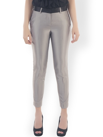 Fast n Fashion Women Silver Toned Slim Fit Formal Trousers available at Myntra for Rs.449