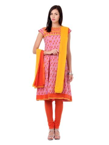 Global Desi Women Pink & Orange Salwar Suit
