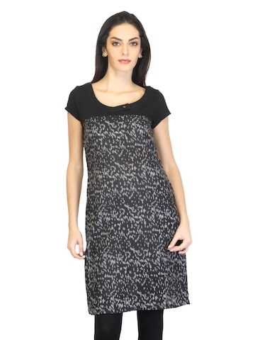 W Women Printed Black Kurta