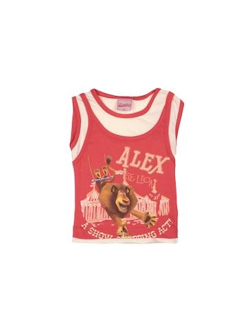 Madagascar3 Girls Soft Red Printed T-Shirt