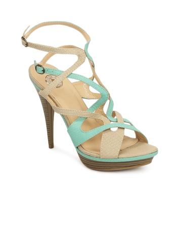 Cobblerz Women Beige & Green Sandals