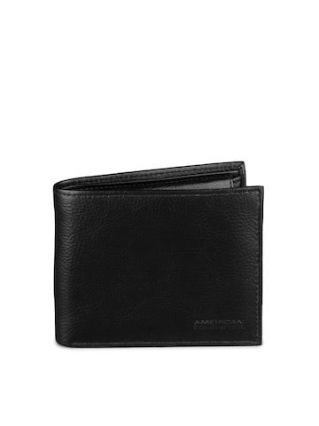 American Tourister Men Black Coin Passcase Wallet