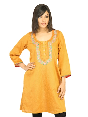 Diva Women Embroided Mustard Kurta