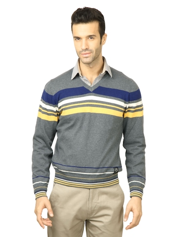 U.S. Polo Assn. Men Solid Charcoal Sweater
