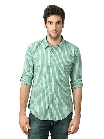 Basics Men Green Striped Shirt