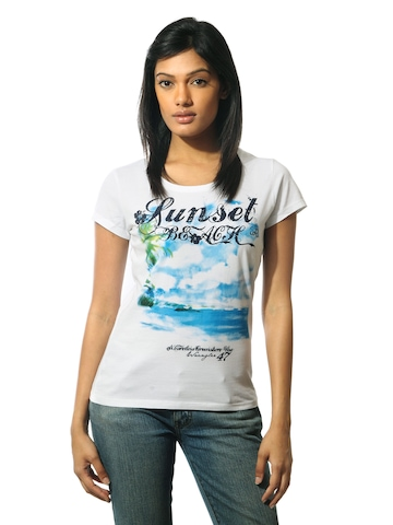 Wrangler Women Sunset Beach White T-shirt