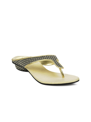 Portia Women Black & Gold-Toned Sandals