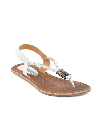 Catwalk Women Weaved Strap White Flats