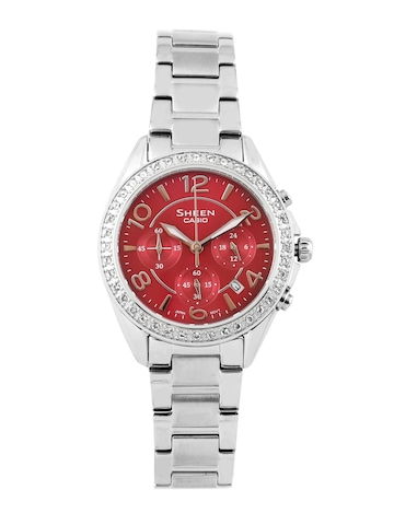 Casio Women Sheen Red Chronograph Watch