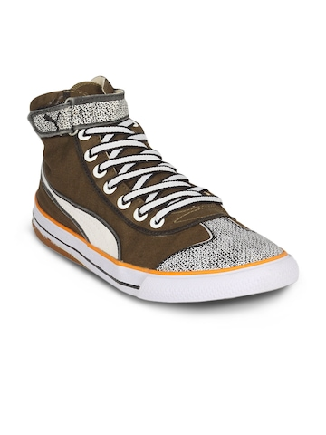 Puma Unisex Mid Pixles Olive Orange Shoes