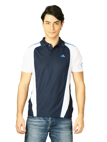 Adidas Men  Navy Blue Polo T-shirt