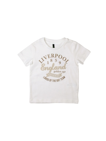 United Colors of Benetton Boys Printed White T-shirt