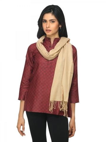 Fabindia Women Beige Noil Silk & Wool Stole