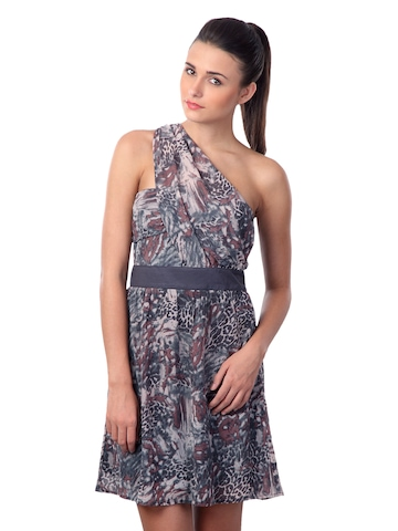 Latin Quarters Women Pink & Black Printed Dress