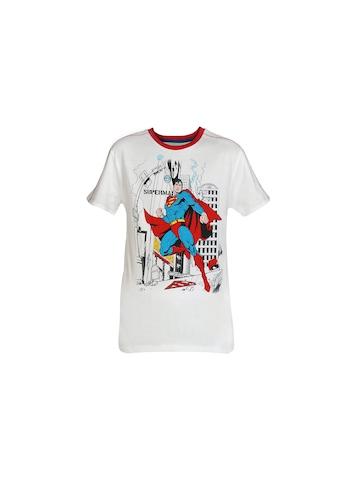 Superman Boys White Printed T-shirt