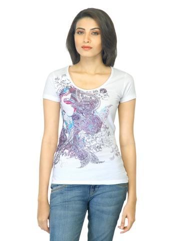 Jealous 21 Women Printed White T-shirt