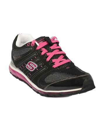Skechers Women Sports Black Pink White Shoe