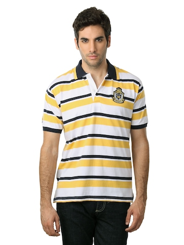 Scullers Men Yellow & Navy Blue Striped T-shirt