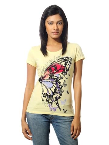 Wrangler Women Butterfly Yellow T-shirt